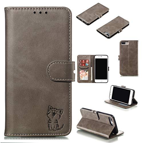 BUVYphonecase Caja del teléfono móvil Funda Protectora for iPhone Plus 8 y 7 Plus (Negro) Piel (Color : Gray)