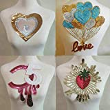 Letters/Love/Red Strawberry/Love Balloon Sequin Handmade Cloth Applique Embroidery Applique Sewing DIY Patch Sticker Clothing T-Shirt Patch(Champagne Series)