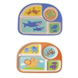 Baby Feeding Plate, Kids Bamboo Plates (Pack of 2), Toddler Divided Plates, Children Sectioned Plate, 2 PCS Baby Weaning Bowl with Compartments BPA Free, Lion + Shark