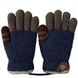Vbiger Kinder Winter Handschuhe Warm Stretchy Gestrickte Bequeme Handschuhe Fäustlinge Soft Magic Handschuh Kälte Handschuhe für 4-8 Jahre Alt, Blau, Einheitsgröße