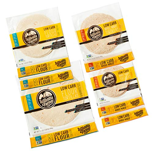 La Tortilla Factory Low Carb Variety Pack, Includes 52 Assorted Low Carb Tortillas