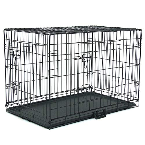 Dog Crate Puppy Box 36' Pet Kennell Cat Rabbit Folding Steel Box Animal Play Pen Wire Metal Cage Black Double Open Cage With Plastic Tray (Arrival in 2-5 days)