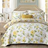 ZuoYam 3 Piece Reversible Quilt Set,Thin Quilt Lightweight Comforter,Breathable Cotton Bedspread/Bed Blanket - Floral Quilted Coverlet for All Season California King(99' x 108')