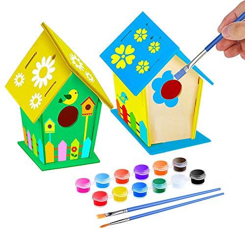 KKSJK DIY Holz-Vogelhaus Bausatz, zum Zusammenbauen und Bemalen, Inklusive 12 Farben und 2 Pinsel für Garten Outdoor Handwerk