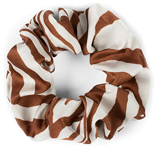 styleBREAKER Dames XXL haarband met zebrapatroon in animal print stijl, elastiek, scrunchie, vlechtelastiek, haarband 04027018, Farbe:Cognac-Wit