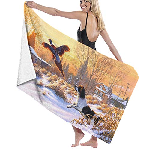 Art Painting Dog Phoenix Soft and Super Absorbent Bath Towel, Suitable for Hotel, Swimming Pool, Gym, Beach-32in X 52in