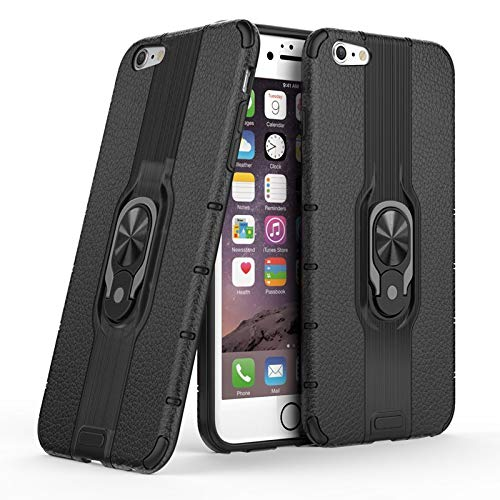 Haiqing Carcasa protectora híbrida de doble capa con soporte de anillo giratorio compatible con iPhone 6 Plus/6S Plus (color negro)