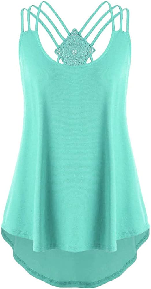 Fastbot women's Vest Strappy Tank Tops Sleeveless Tunic Racerback High Low Casual Loose Summer Cami Blouse Sport Comfy Green