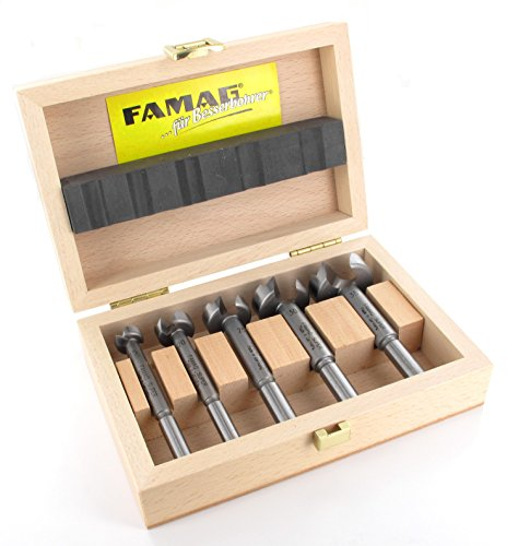 5-teiliger FAMAG SUPER-Forstnerbohrersatz Classic WS mit D=15,20,25,30,35mm im Holzkasten