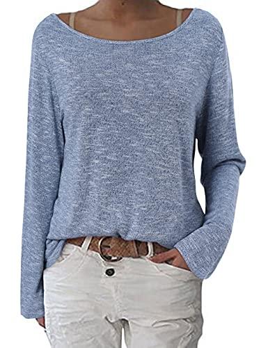 ZANZEA Damen Langarm Lose Bluse Hemd Shirt Oversize Sweatshirt Oberteil Tops Grau Blau EU 44/Etikettgröße L