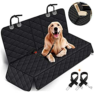 Dog Car Seat Cover, Dog Seat Cover for Back Seat Car Seat Protector for Dogs Pets Waterproof Pet Seat Cover with 2 Dog Seat Belts, Non-Slip Bench Seat Covers Armrest for Cars Trucks SUVs