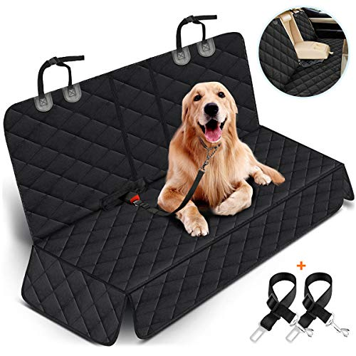 Yuntec Dog Car Seat Cover, Dog Seat Cover for Back Seat Car Seat Protector for Dogs Pets Waterproof Pet Seat Cover with 2 Dog Seat Belts, Non-Slip...