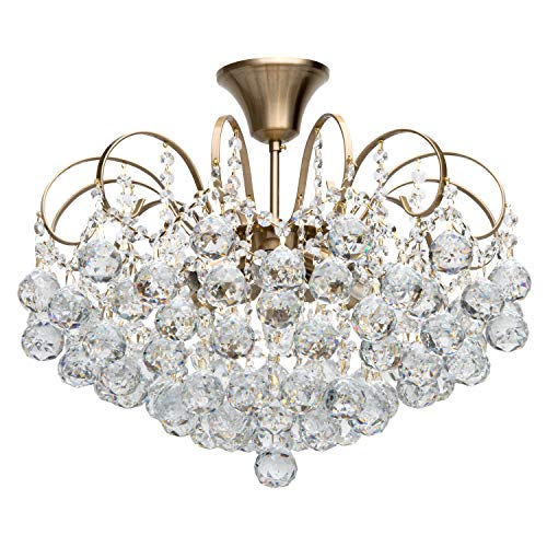 MW-Light 232016506 Modern Ceiling Lighting Crystal Chandelier Baroqque Brass for Living Room, Bedroom 6 Lights E14 x 60W excl