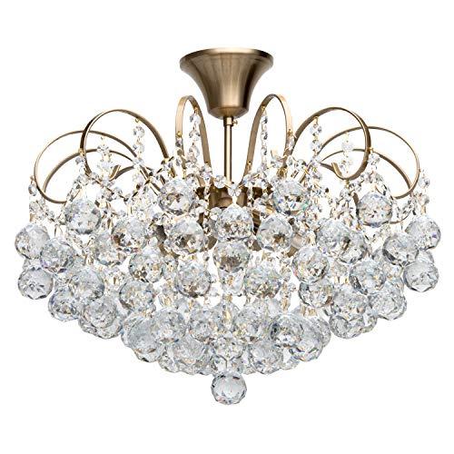 MW-Light 232016506 Lustre Magnifique Design Baroque en Métal couleur Bronze décoré de Pampilles Boules en Cristal pour Salon Salle de Séjour 6x60W E14