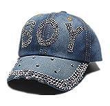 Targogo Berretto da Baseball da Jeans con Donna Cappuccio Fashionable in Visiera con Strass E Cappello con Visiera Glitterata (Color : Boy, Size : One Size)