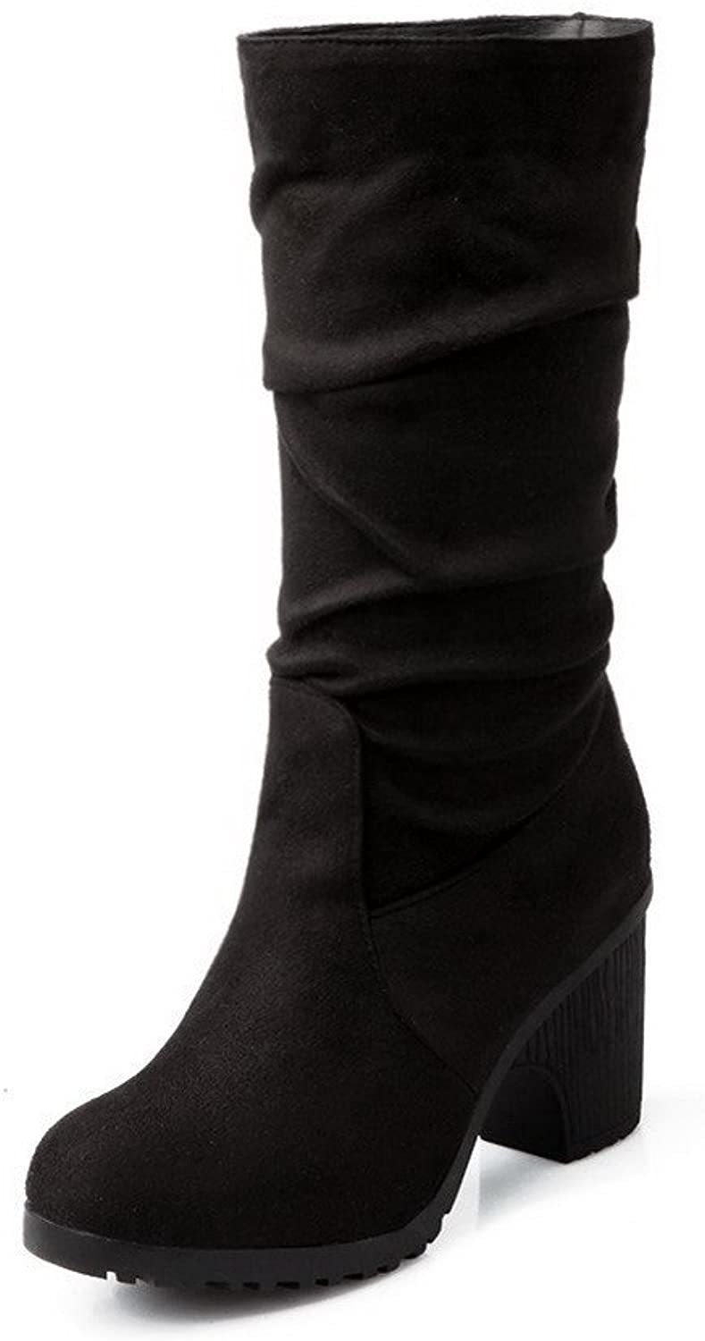 AmoonyFashion Women's High-Heels Frosted Mid-Top Solid Pull-On Boots