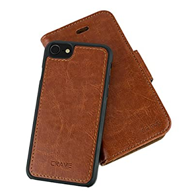 iPhone SE 2020 (2nd gen) / 8/7 Leather Wallet Case, Crave Vegan Leather Guard Removable Case for Apple iPhone SE/8/7 (4.7 Inch) - Dark Brown