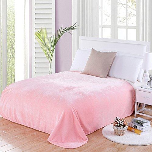 FTHIYK flanel deken warme voorruit deken effen kleur zachte airconditioning deken volwassen kinderen bank deken, roze 150 * 200cm