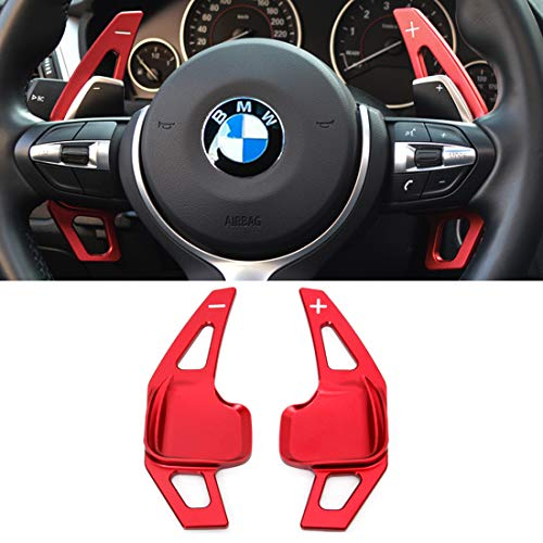 For BMW Paddle Shifter Extensions,Jaronx Aluminum Metal Steering Wheel Paddle Shifter(Fits: BMW 2 3 4 X1 X2 X3 X4 X5 X6 series,F22 F23 F30 F31 F33 F34 F36 F32 F15 F16 F25 F26 F48 F39) -Red