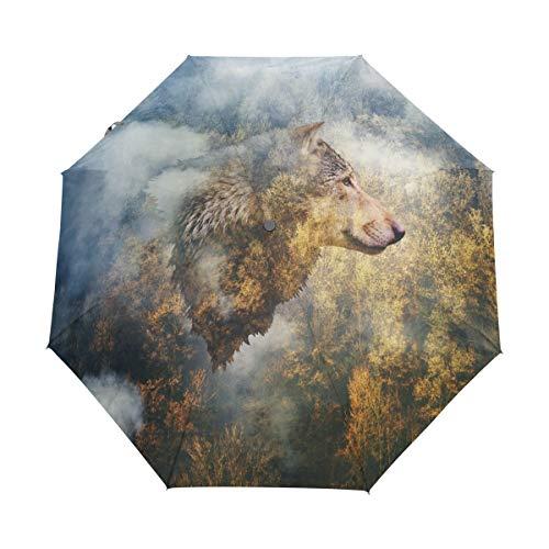 Hunihuni Autumn Forest Wolf Automatischer Faltschirm Winddicht Wasserdicht Anti-UV Schutz Sonnenschutz Sonnenschutz
