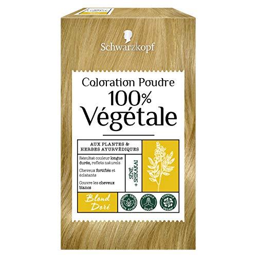 Schwarzkopf - 100% Végétale - Coloration Cheveux Poudre Naturelle - Couvre les Cheveux Blancs - Couleur longue durée - Formule Vegan - Henné - Blond Doré