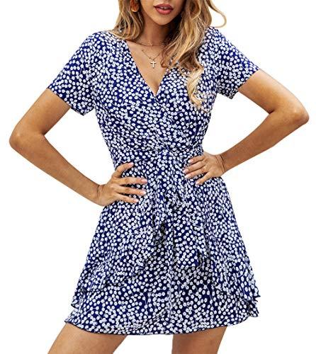 BTFBM Women V Neck Short Sleeve Polka Dot Floral Pattern A-Line Tie Belt Short Dress with Ruffle Irregular Hem (Blue,...