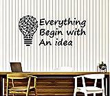 Vinilo Adhesivo De Pared Bombilla Cita De Idea Inspirar Decir Pegatinas De Espacio De Oficina Mural Todo Con Una Idea Pared Declas 27X57Cm