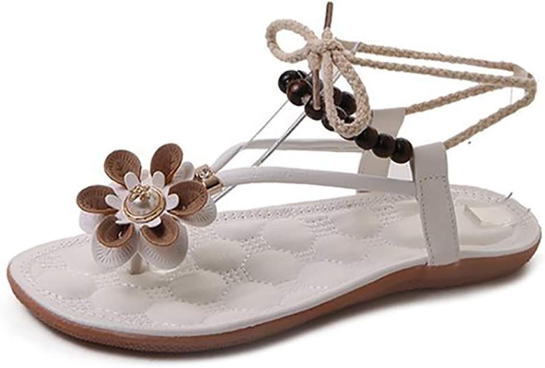 Women's Bohemian Rope Sandals,Women's Cross Straps Braided Roman Sandals,Flower Beach shoes Slippers
