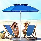ROWHY 2 Tiers 7.5' Beach Umbrella with Sand Anchor & Push Button Tilt Pole Portable for Heavy Duty Wind UV 50+ Sunshade Umbrella with Carry Bag for Patio Outdoor Umbrella(Royal Blue)