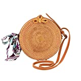 Round Rattan Bags Woman Handwoven Straw Purse Bag Crossbody Shoulder Leather Straps Natural Chic Butterfly Buckle