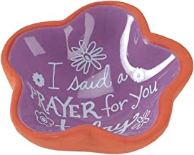I Said a Prayer For You Today Purple Blossom 3 x 3 Terra Cotta Flower Shaped Bowl Tray