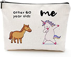 1961 Birthday Gifts for Women, 60 Years Old Birthday Gifts-60th Birthday Gifts for Women - Makeup Bag for Mom, Wife, Friend, Sister, Her, Colleague, Coworker(Makeup bag-60th Unicorn)