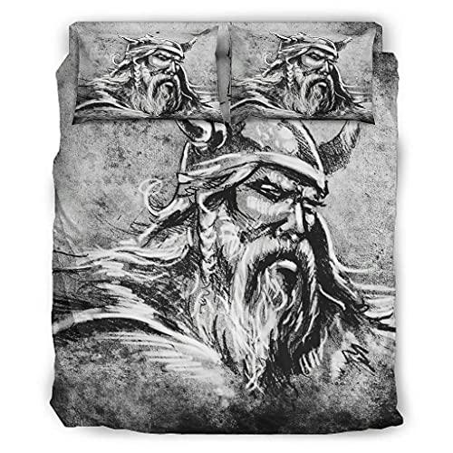 Hothotvery Juego de ropa de cama de 4 piezas, estampado vikingo, Odin guerrero, color gris, 4 piezas, funda nórdica y fundas de almohada, blanco, 203 x 230 cm