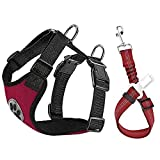 HomeChi dog adjustable car harness seat belt, Comfortable Vest Harness with Safety Seat Belt Adjustable Elastic Strap and Multi-function Breathable Fabric Vest in Vehicle for Dogs Medium Small Large