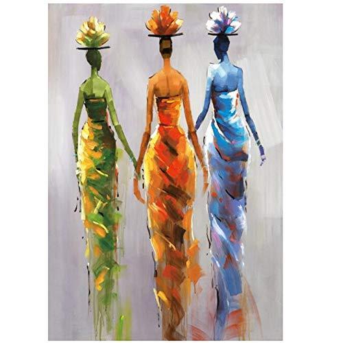 Mujeres africanas abstractas Arte de la pared Pinturas sobre lienzo Arte pop moderno y colorido Impresiones sobre lienzo Carteles para la sala de estar 70x100cm .6 27.6''x39.4 '') Sin marco