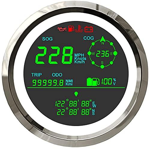 ELING Velocímetro GPS digital universal de 85 mm 0-299 km/h MPH Nudos viaje cuentakilómetros COG Indicador de nivel de combustible voltímetro para barco camión moto (blanco y acero inoxidable)