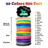 dikale Glow in The Dark 3D Pen Filament Refills PLA - 20 Colors 800 Feet(10 Glow, 6 Fluo, 4 Common) Bonus 250 Stencil eBook 3D Pen Filament 1.75mm for Tecboss Nulaxy etc(Does Not Fit 3Doodler)