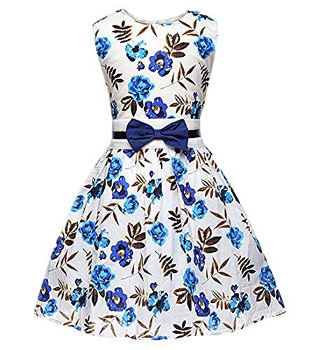 Little Hand Robe Fille Pourpre Rose Fleur Double Arc Attacher Partie Bleu Robes de Fête 2-9 ans