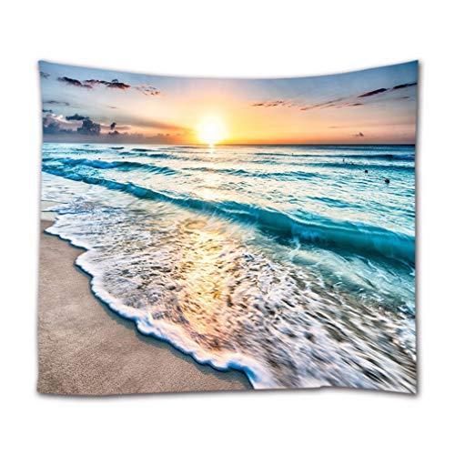A.Monamour Wandteppiche Sonnenuntergang Ozeanblau Meer Ozean Wellen Sand Strand Natur Landschaft Druck Stoff Wandteppich Dekorative Wandbehänge Für Schlafzimmer Wohnzimmer Schlafsäle 130X153 cm