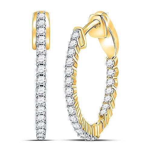 Orecchini a cerchio da donna in oro giallo 14kt Round Diamond singola riga 1/2Cttw