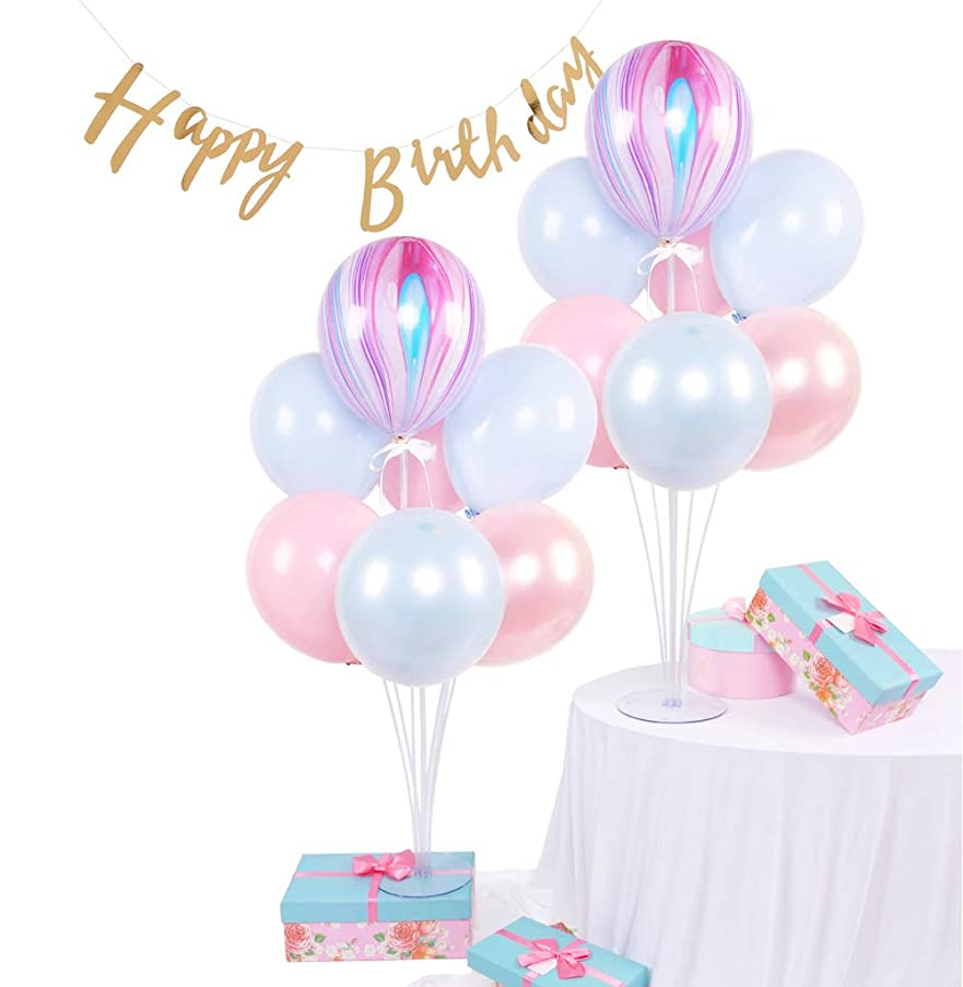 Qualatex Agate DIY Table Balloon Stand Kit 2 Sets Balloon Holder Sticks 7 Cups and 1 Base Birthday Banner for Baby Shower Birthday Party Decoration 28