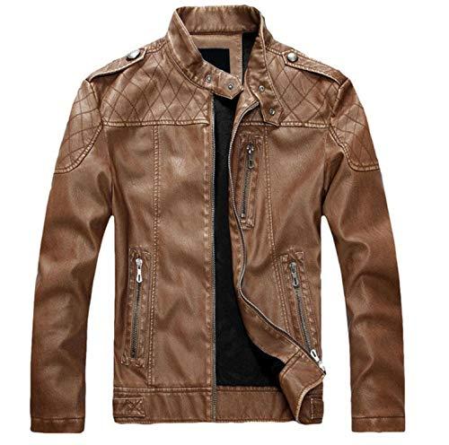 Leather Jacket Men Mens Leather Jacket and Coat Motorcycle Jacket,8899 Yellow,L