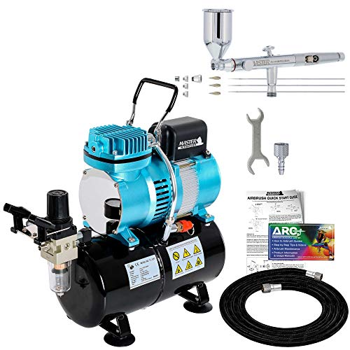 Master Airbrush SB88 Pro Set Dual-Action Side Feed Airbrush Kit with Cool Runner II Dual Fan Air Tank Compressor - 3 Nozzle Sets (0.3, 0.5, 0.8mm), 1/2oz Gravity Cup, How To Guide - Spray Auto, Hobby