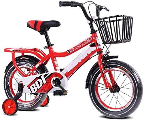 Bicicleta para Niños y Niñas Bicicleta BMX Freestyle de Skid Boy con Ruedas de Entrenamiento, de 16 Pulgadas, Llantas, Color: Naranja (Color : Red, Size : 12inch)