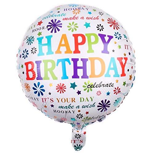 DIWULI, Geburtstags Luftballon Happy Birthday, Folien-Luftballon, Geburtstagsballon, bunter Folien-Ballon für Geburtstag, Mädchen Jungen Kindergeburtstag, Party, Dekoration, Geschenk-Deko, DIY