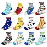 Toddler Grip Non Slip Socks - 12 Pairs Newborn Non Skid For Baby Boys Girls Catoon Cute Warm Comfortable Children Trainer Funny Cute Socks for 3-5 Years Cartoon