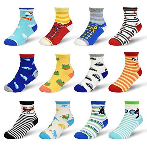 ELUTONG Kleinkind Socken Antirutsch - 12 Paar Baby Jungen Socken ABS Anti-Rutsch Kinder Kleinkinder Babysocken für Baby Jungen und Mädchen Tierdruck 1-3 Jahre