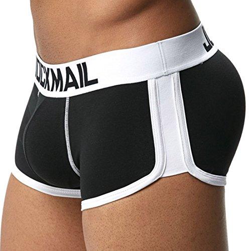 Freahap Men Underwear Bóxers Ajustado para Hombre Calzoncillo Ropa Interior de Algodón Diseño U con Rellenos Delanteras y Traseras Negro M