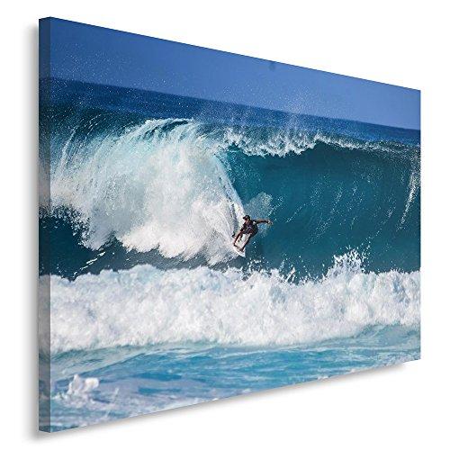 Feeby Frames. Cuadro en lienzo - 1 Parte - 40x60 cm, Imagen impresión Pintura decoración Cuadros de una pieza, SURFISTA, TABLA DE SURF, DEPORTE, HOMBRE, OLA, AGUA, AZUL