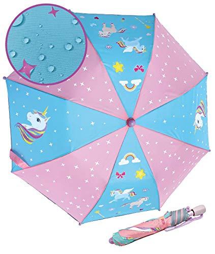 HECKBO Einhorn Magic Kinder Mädchen Regenschirm – wechselt bei Regen die Farbe – Faltregenschirm: passt in jeden Schulranzen – Reflektorstreifen an allen Seiten – Holzgriff, Schutzkappen & Schutzhülle